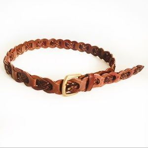 Vintage Brown Braided Leather Belt Size M/L